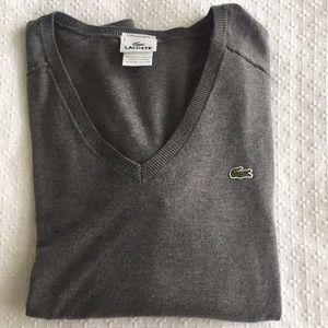 Lacoste grey v-neck sweater